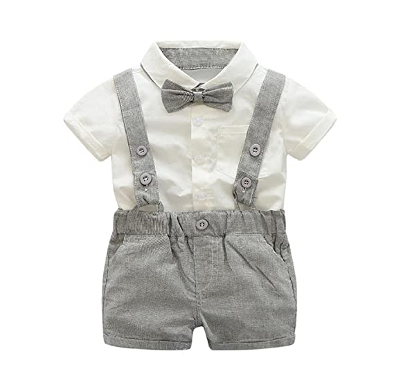 7bd807972 Singleluci Baby Boys Summer Bowtie Short Sleeve Shirt+Suspenders Shorts Set  Gentleman Outfits (Gray