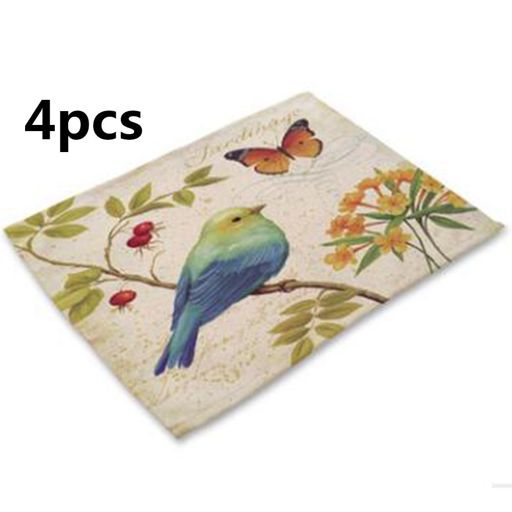 Animal Series Hand-painted Bird Pastoral Style Printing Rectangle Linen Western Food Mat Bowl Cup Placemat,42CM32CM(4pcs) (42CM32CM, 4)