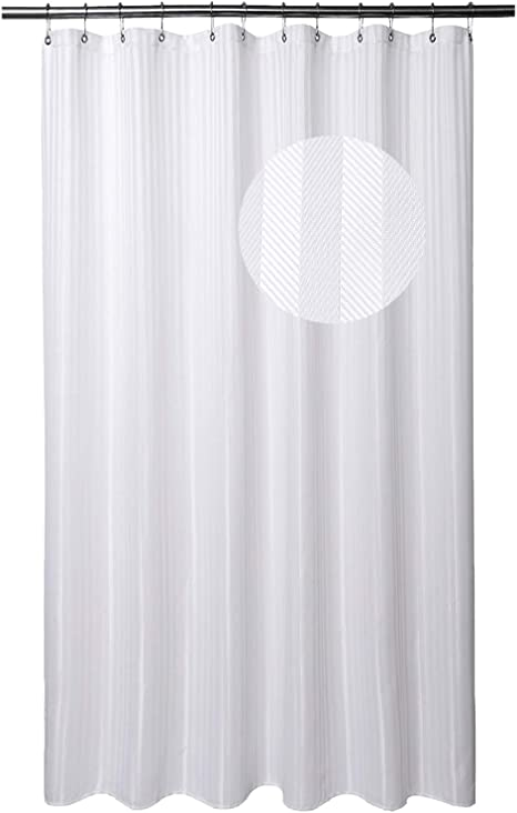 Amazon Com Barossa Design Extra Long Shower Curtain With 84 Inch Height Herringbone Striped Fabric Hotel Grade Machine Washable Water Repellent 160 Gsm Heavyweight White 71x84 Home Kitchen