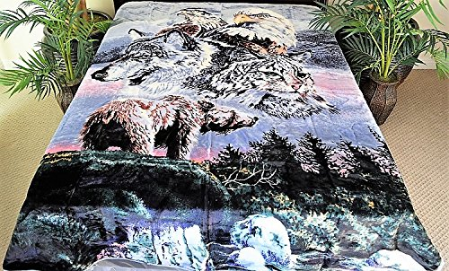 V's Signature Collection Wildlife Bear Eagle Wolf Bobcat Luxury Super Soft Medium Weight Queen Size Mink Blanket 1ply