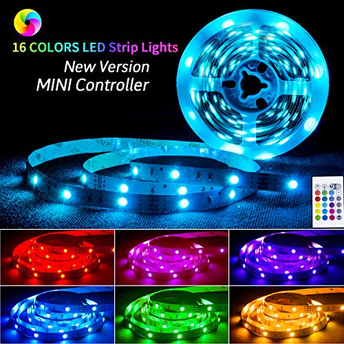 LED-Strip-Lights-with-Remote,16.4ft RGB LED Strip 5050 LEDs Color Changing Strip Lights with 12V Power Supply, LED Lights Mood Lighting for Home Kitchen Deck for Larger Size TV 70 to 100in]()