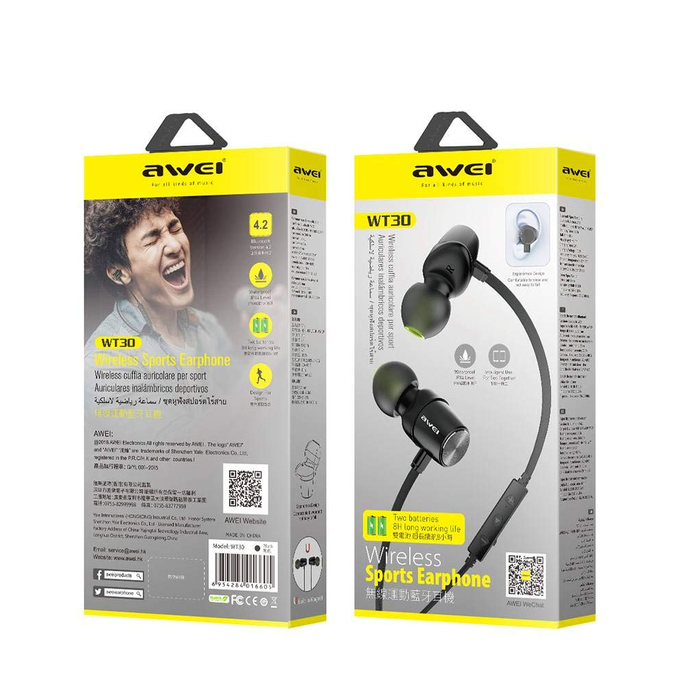 Amazon.com: Awei WT30 IPX4 Waterproof Bluetooth Sports Headphones: Home Audio & Theater