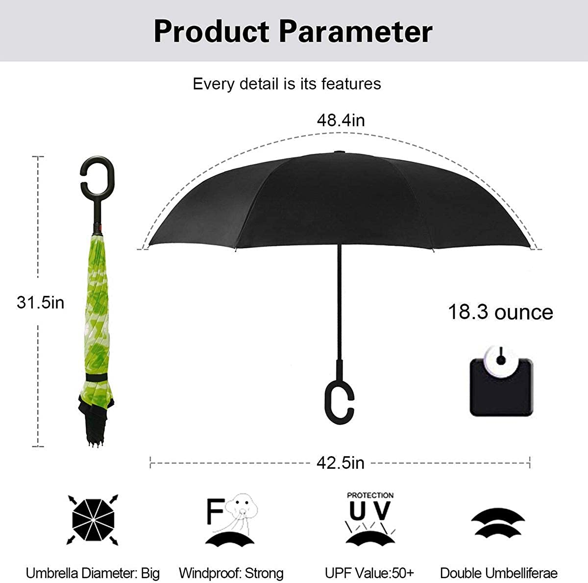 Reverse Umbrella Double Layer Inverted Umbrellas For Car Rain Outdoor With C-Shaped Handle Seamless Wallpaper Background Ornament Green Customized