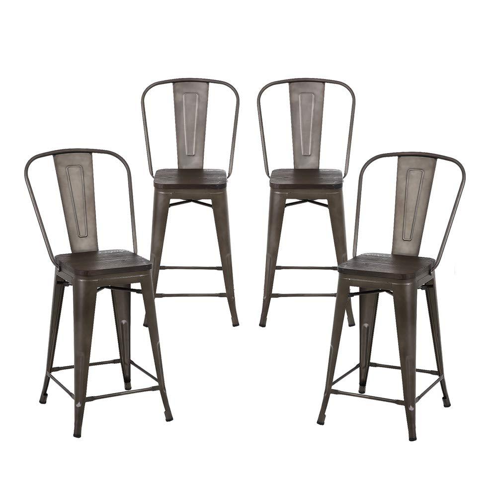 Buschman Set of 4 Bronze Wooden Seat 24 Inch Counter Height Metal Bar Stools with High Back, Indoor Outdoor