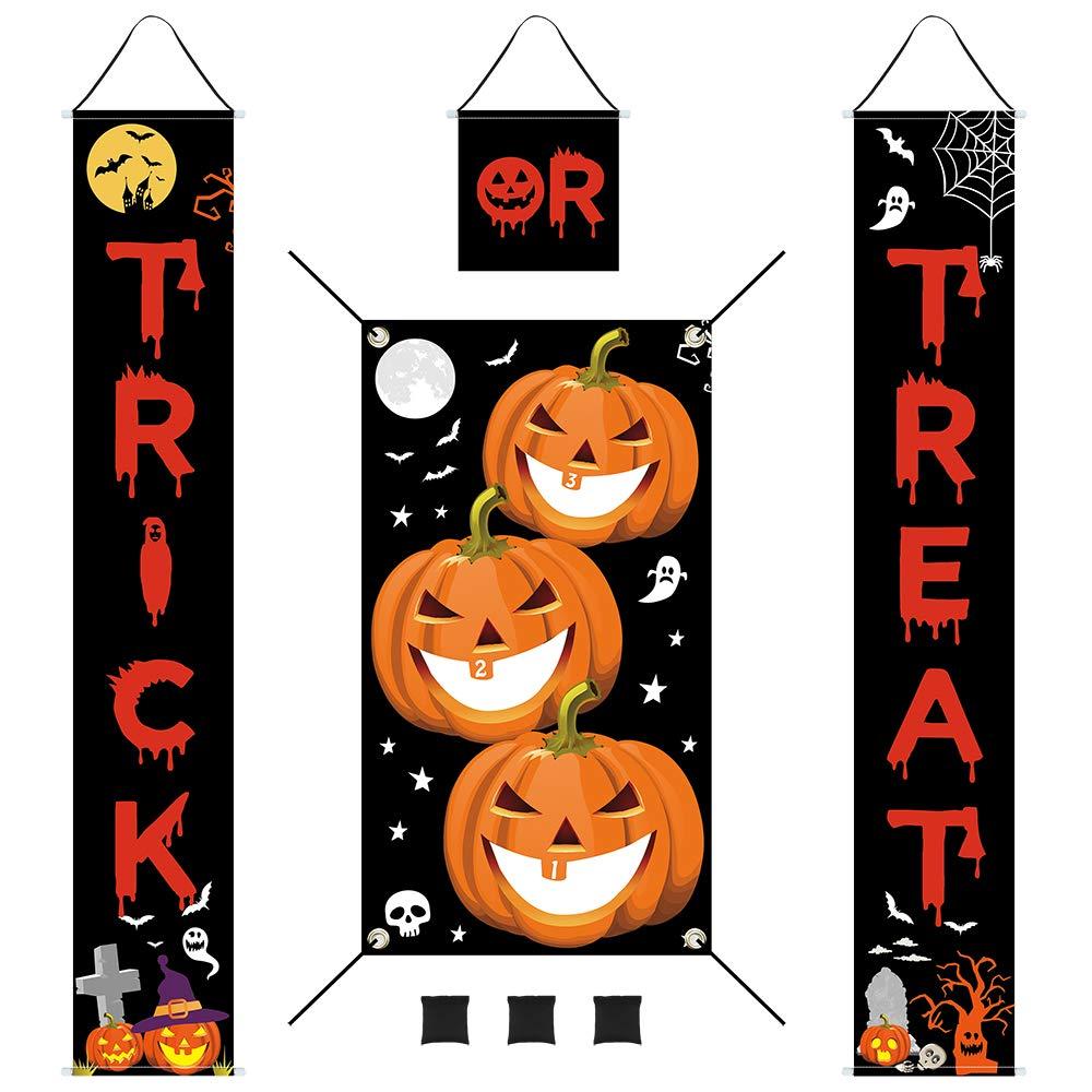 Auihiay Halloween Bean Bag Toss Set and Halloween Decoration Porch Sign for Halloween Decoration Outdoor Indoor Yard Bar Halloween Party