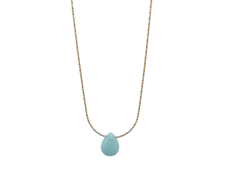 minimalist birth stone delicate jewelry Handmade in California Blue jade necklace gold plated gemstones