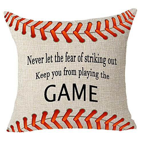 Sports Throw - Never let the fear of striking out keep you from playing the game sport baseball quote Throw Pillow Cover Cushion Case Cotton Linen Material Decorative 18