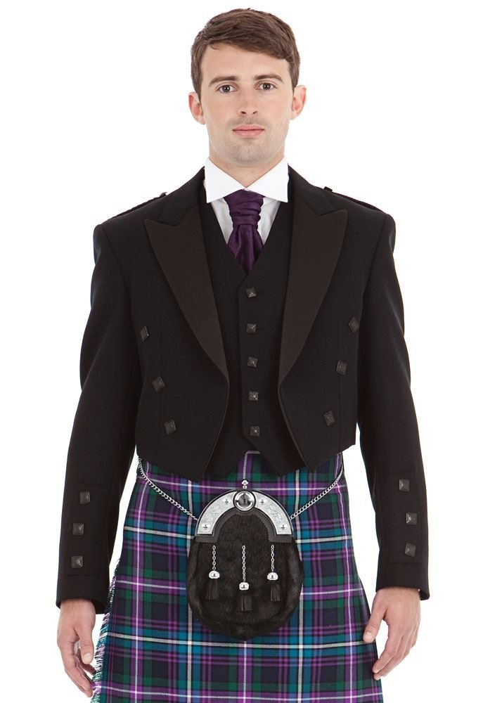 Mens Contemporary Black Prince Charlie and 5 Button Vest Size: 40L by Kilt Society