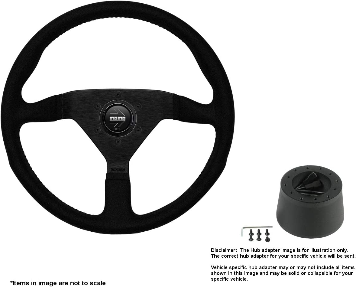 MOMO Montecarlo 320mm (12.6 Inches) Alcantara Steering Wheel w/Brushed Black Anodized Spokes and Crowder's Hub Adapter for Alfa Romeo Spider Duetto Part # MCL32AL1B + 0512