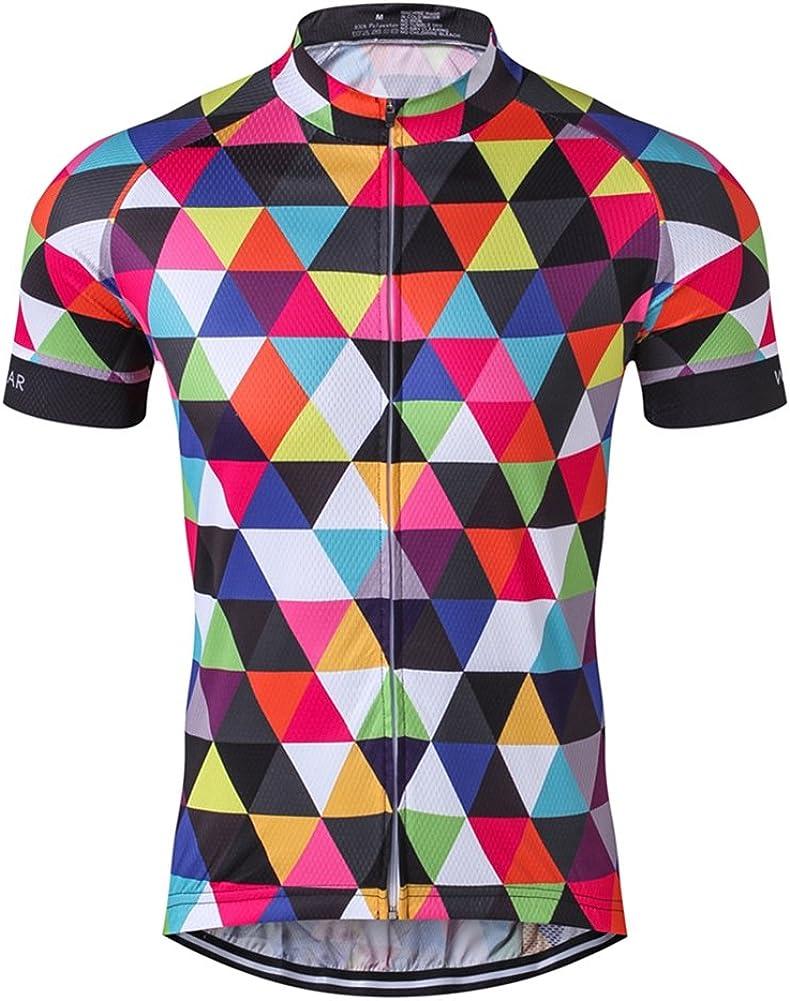 Men Short Sleeve Cycling Jersey Polyester Multicolour Reflective Stripes Sports
