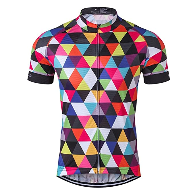 Men s Cycling Jersey Short Sleeve Bike Clothing Multicolored Diamond Size M 0c6509000