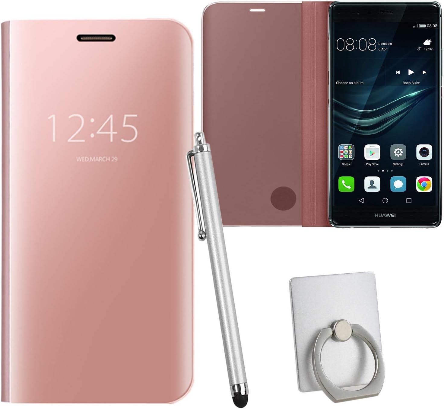 Guran® Mirror Efecto Espejo Funda para Huawei P9 Plus (5.5 Pulgada) Clear View Función de Soporte Plegable Smartphone Funda Protectora (Oro Rosa): Amazon.es: Electrónica