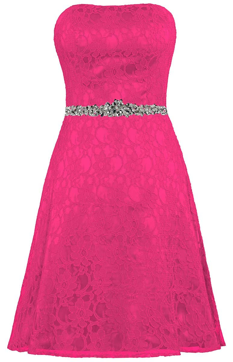 Hot Pink ZAXANTS Women's Strapless Lace Cocktail Dresses Short Party Dress