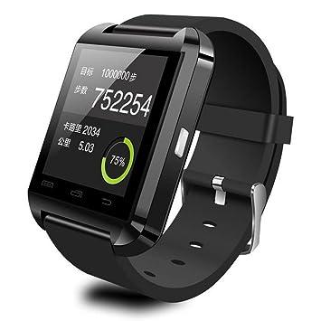 Megadream - Smartwatch con Bluetooth 4.0, impermeable, con cámara y pantalla tactil, correa de poliuretano para sistema Android, sincronización con ...