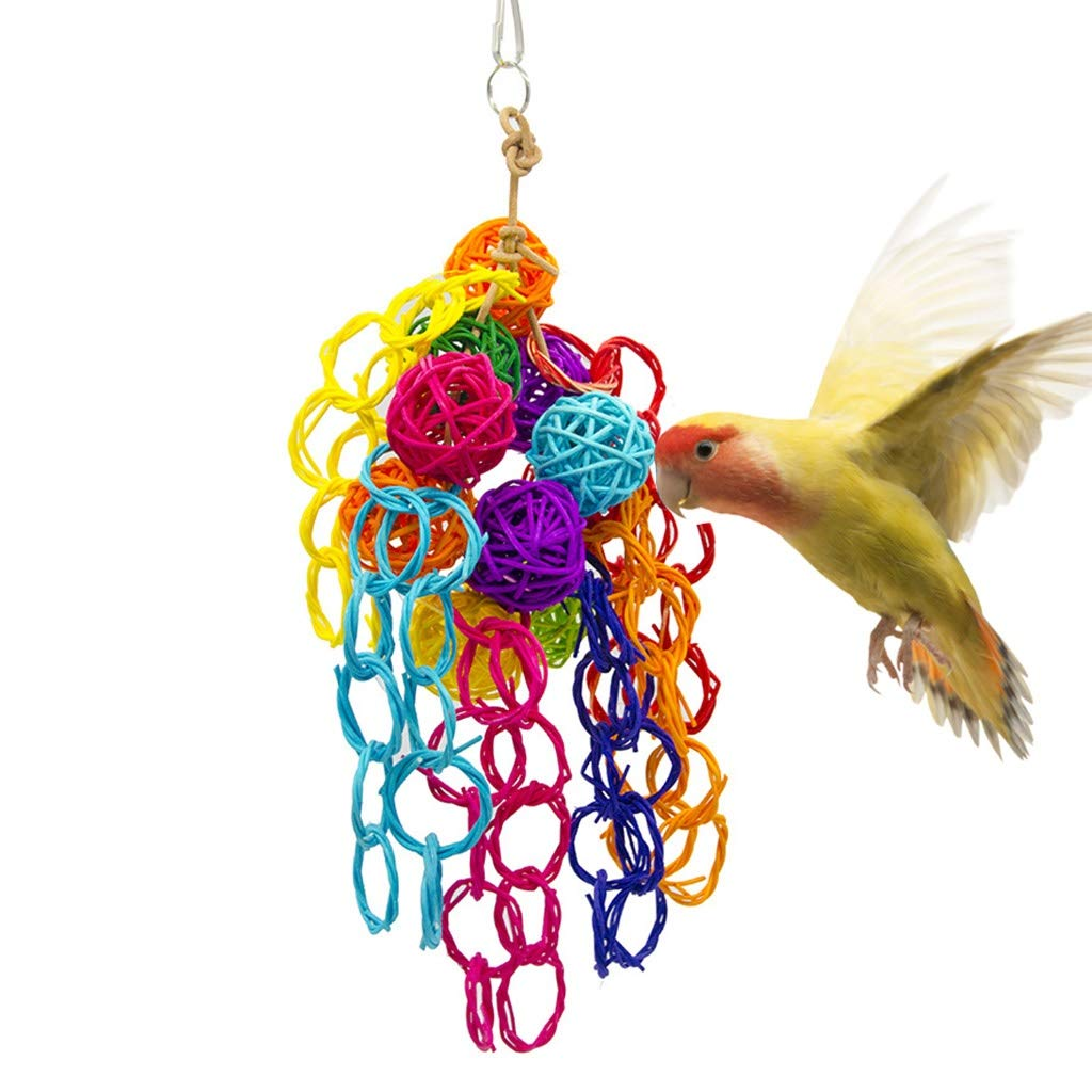 Bird toy Multi-Color Parrot Chewing Toys Pet Bird Swing Toy Hanging Vine Wood Large Rope Cave Ladder Hang by Bird toy