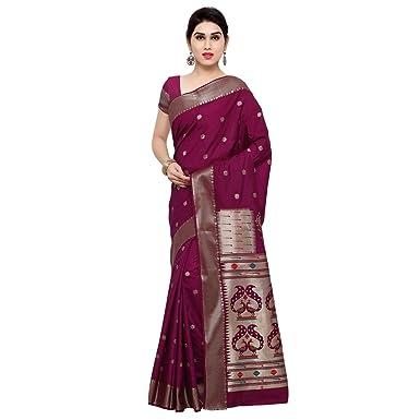 6fff56897a9bc4 Varkala Silk Sarees Women s Raw Silk Paithani Saree with Blouse Piece