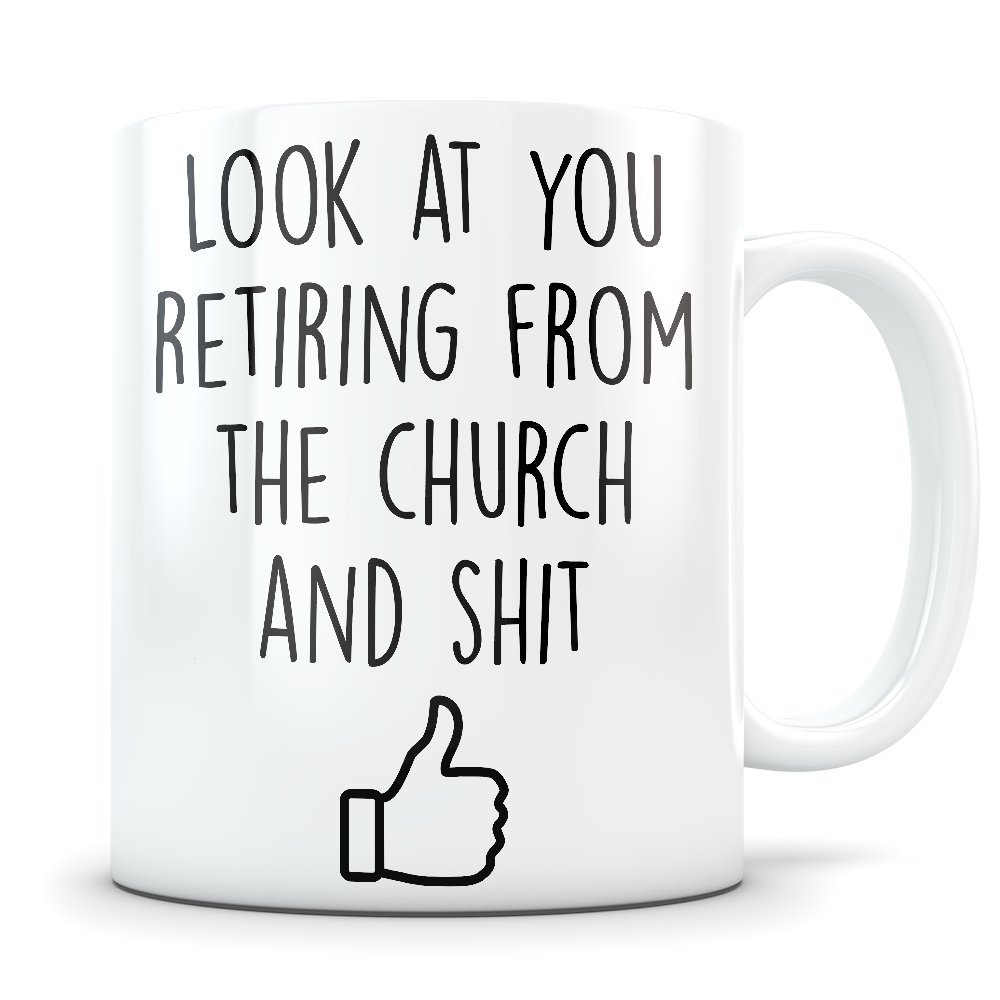 Church Retirement Gifts for Men and Women - Happy and Retired Coffee Mug as a Pastor or Reverend Congratulations - Funny Gag Retire Cup for Someone Retiring