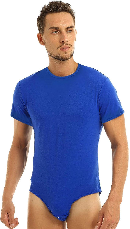 Kaerm Men Adults One Piece Round Neck Short Sleeves Press Crotch T-Shirt Bodysuit Romper Pajamas