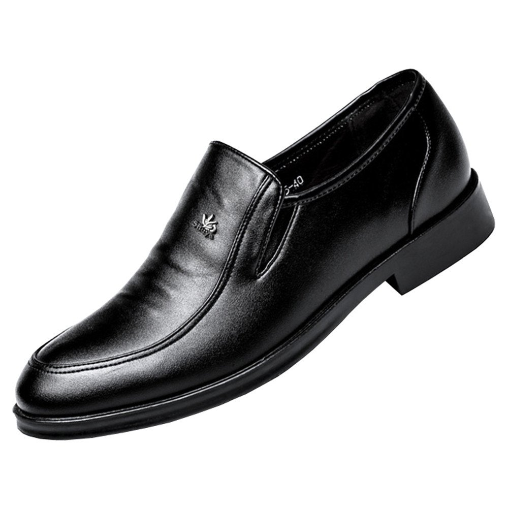 Mens Classic U-Tip Leather Lined Derby Loafer Business Dress Shoes Slip On