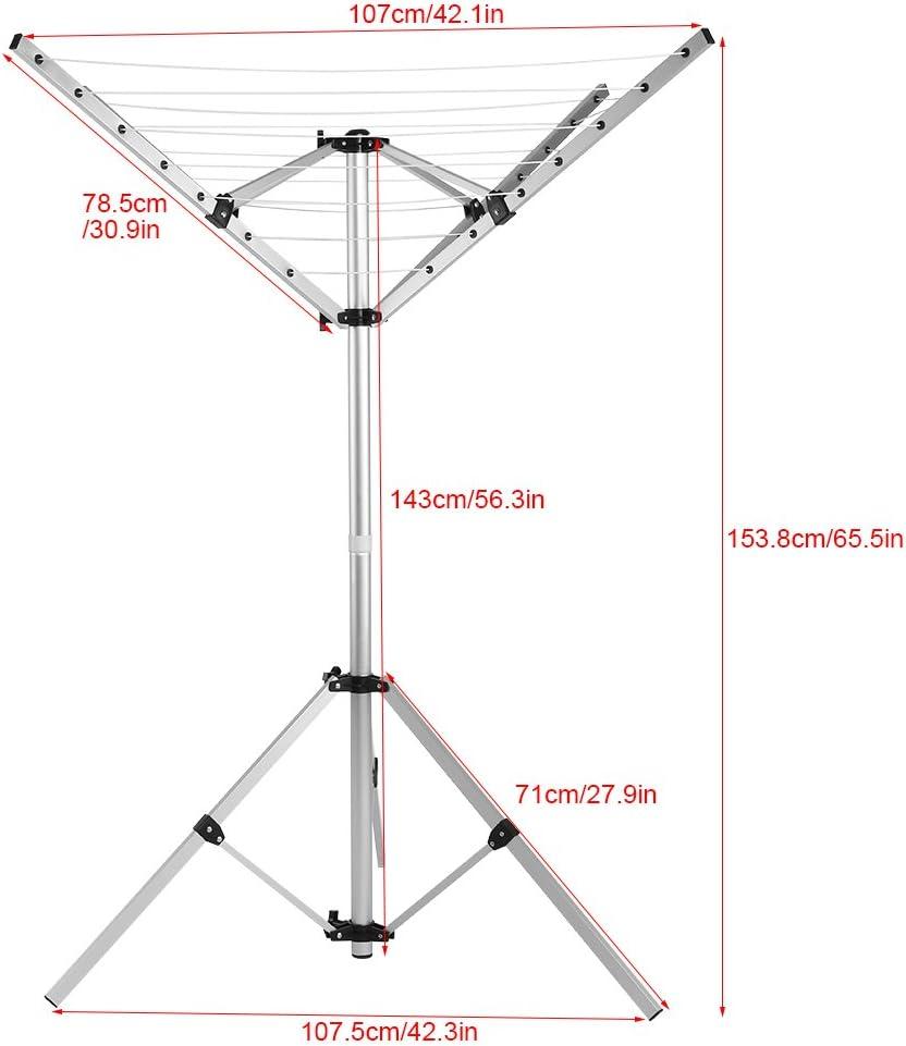 4/bracci e 3/gambe Stendibiancheria girevole da campeggio portatile supporto da terra Zerone Stendibiancheria ombrello di Jardin 16/m