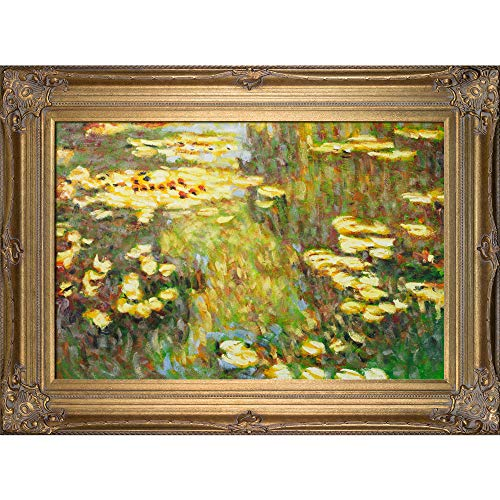 La Pastiche Water Lilies with Renaissance Bronze Framed Oil Painting, 46