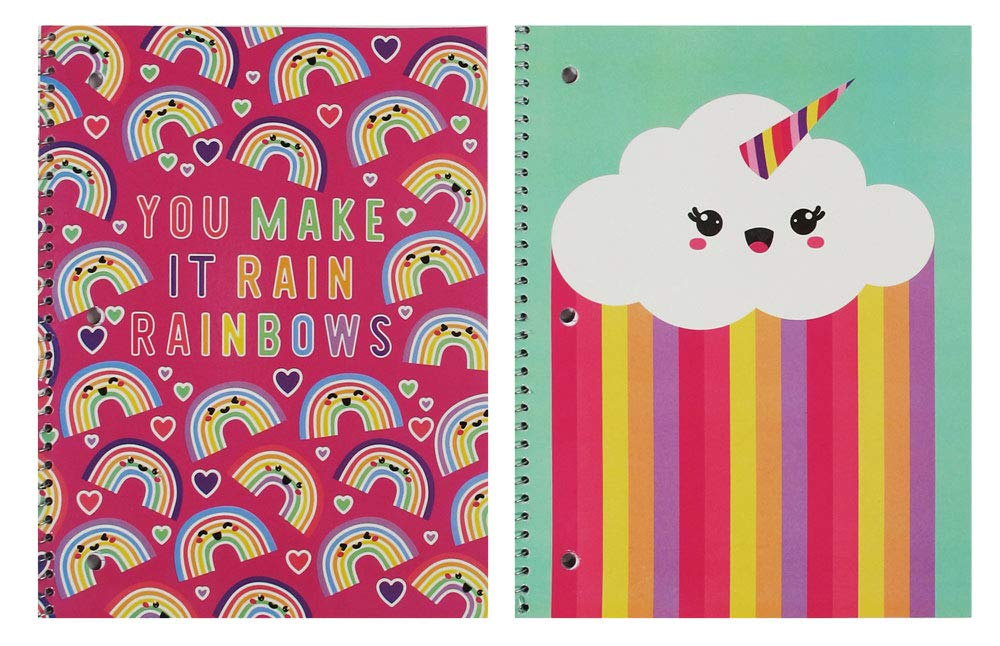 Wide Ruled Spiral Notebooks 2 pack Cute Rainbows, Hearts & Unicorn Cloud 70 sheet