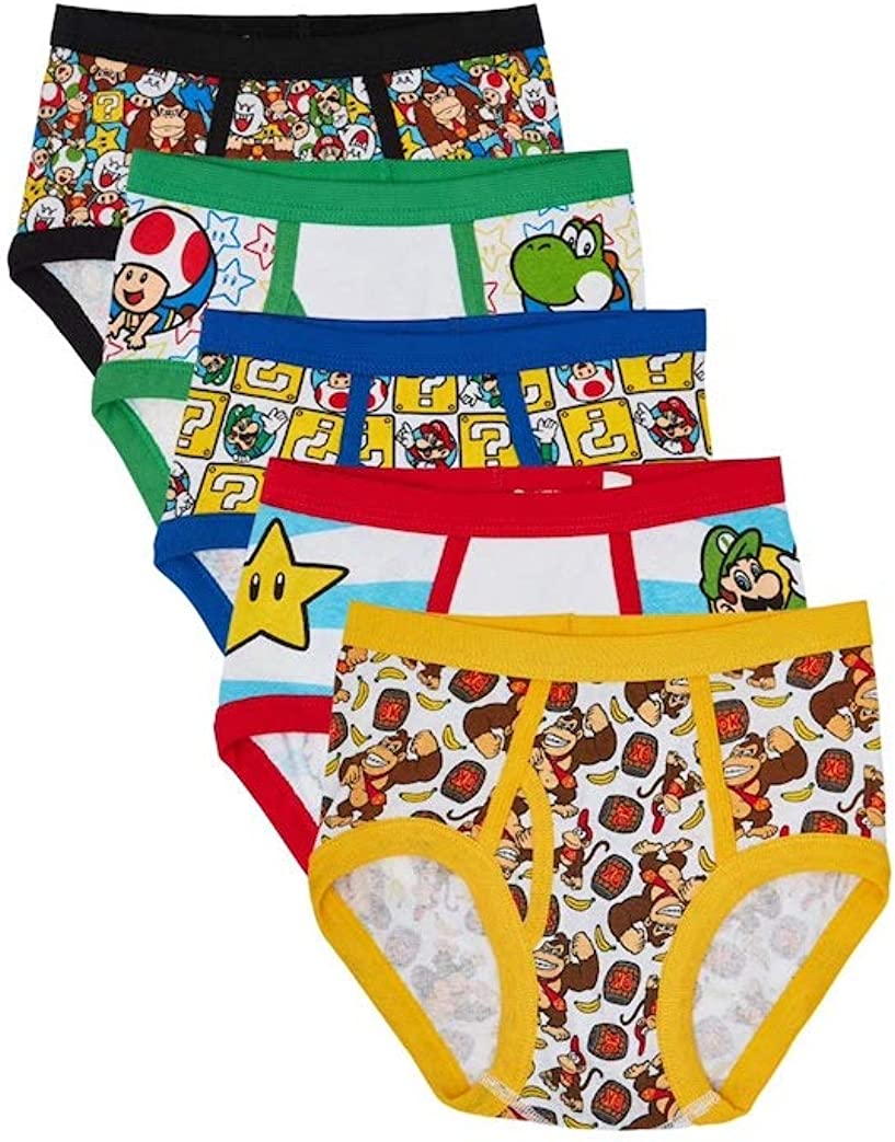 Size 8 SUPER MARIO Boys 5-Pack Briefs