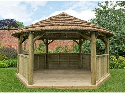 Forest - Carpa hexagonal de 4, 7 m con techo de campo (incluido) Forro de techo color crema.: Amazon.es: Jardín