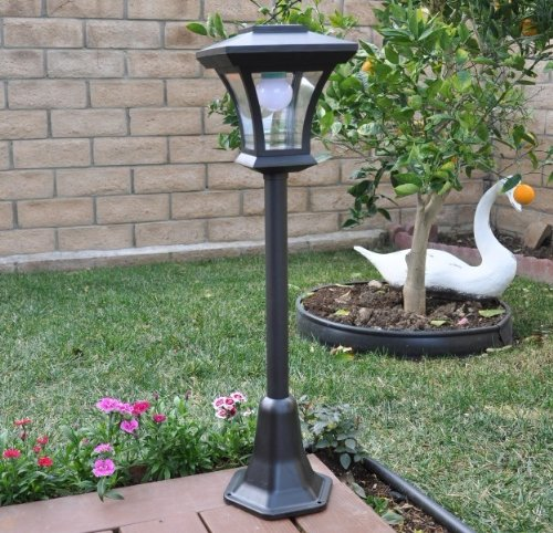 solar charged led lamp post decorative yard light with 3 height options lamps lights leds. Black Bedroom Furniture Sets. Home Design Ideas