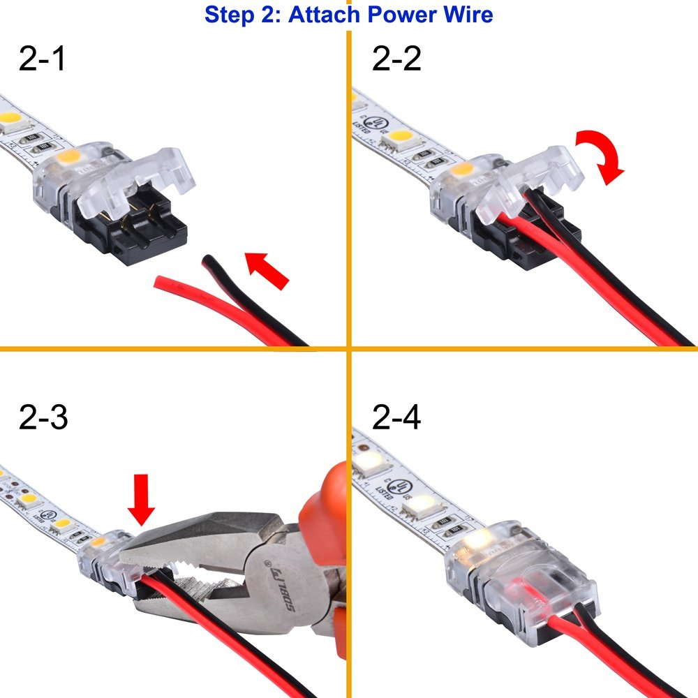 5 Connector Packed. Non-waterproof Use LED Strip Connector Kit 10mm 2 Pin With Extension Wire UL Listed 9.8 Feet//3 Meter 20 Gauge 2 Conductor SMD5050 Strip to Power Lead and Strip to Strip Jumper