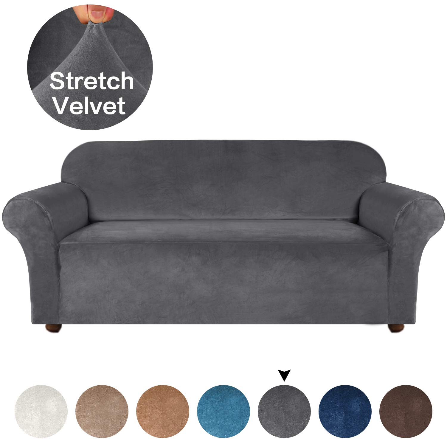 Turquoize Velvet Sofa Cover Stretch Sofa Slipcover Stylish Couch Cover 1-Piece Furniture Protector Washable Spandex Loveseat Slipcover & Couch Slipcover for Dogs (Sofa, Gray)