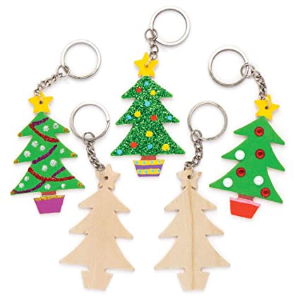 baker ross christmas tree wooden keyrings pack of 8 for kids christmas crafts and - Ross Christmas Decorations
