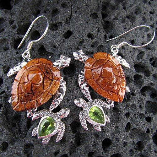 - Sea Turtle Earrings. Hawaiian Koa Wood. Sterling Silver. Peridot.