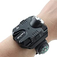 FomaTrade Rechargeable LED Wrist Flashlight with Compass (Black)