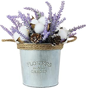 ZYAO Artificial Plants in Pots for Home Decor Indoor Artificial Fake Silk Lavender Plant Cotton Bouquet Artificial Flowers in Vase for Living Room Windowsill Balcony Farmhouse Decor