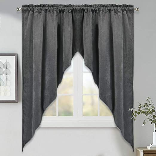 Amazon Com Stangh Swags Curtains For Bedroom Decorative Velvet Curtains Window Treatment Drapes Blackout Privacy Panels For Living Room Grey W35 X L63 2 Panels Home Kitchen