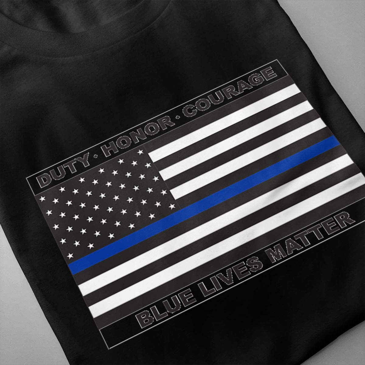Holygery Mens Blue Lives Matter Police Flag Casual Crew Neck Short Sleeves Top