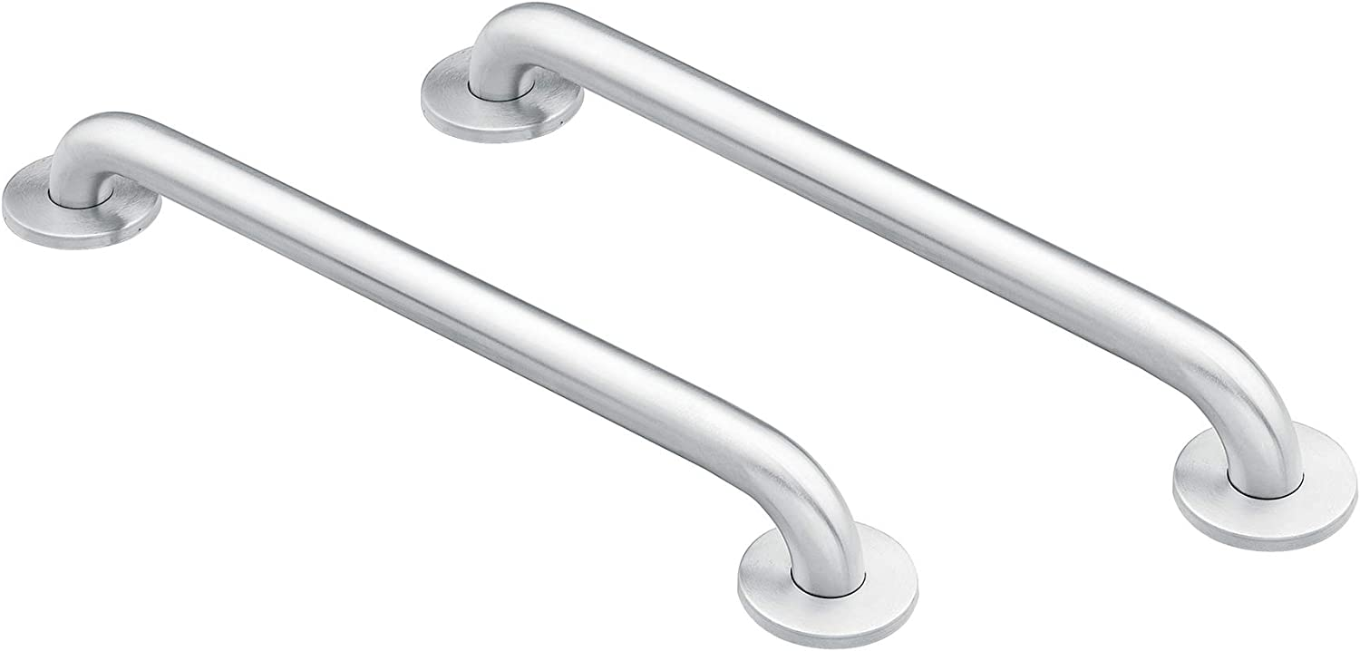 Moen 8724 Home 24-Inch Bathroom Grab Bar, Stainless AND Moen 8718 Home 18-Inch Bathroom Grab Bar, Stainless