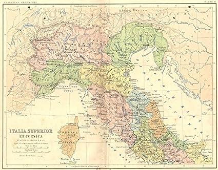 Amazon Com Italy Italia Superior Corsica 1880 Old Map