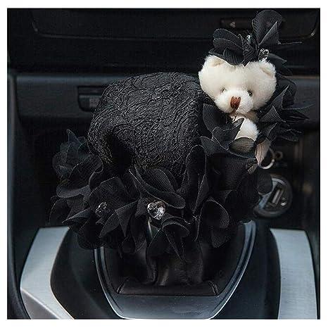 Black Siyibb Winter Plush Car Gear Shift Knob Cover with Rhinestone Decor