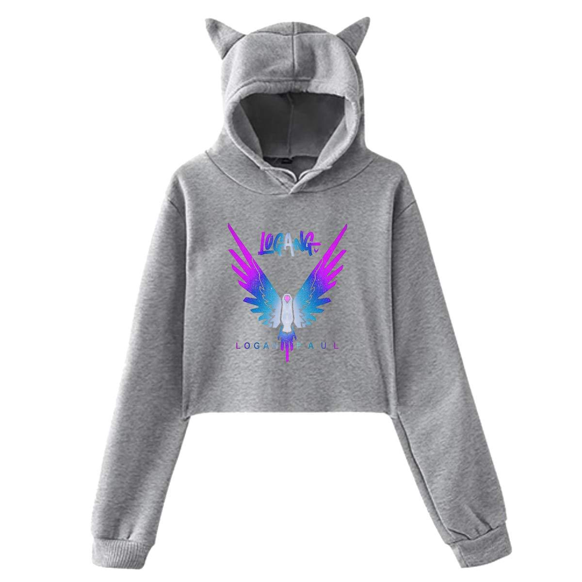 Youth Girls Hoodie Jake Paul Logang Logan Paul Maverick Cat Ear Sweatershirt Long Sleeve Crop Top Hoodies for Girls Gray M by BKashy