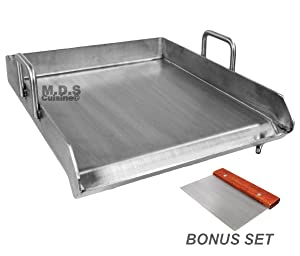 "Stainless Steel Flat Top Comal Plancha 18""x16"" inch BBQ Griddle for cooking with Outdoors Stove or Grill catering"