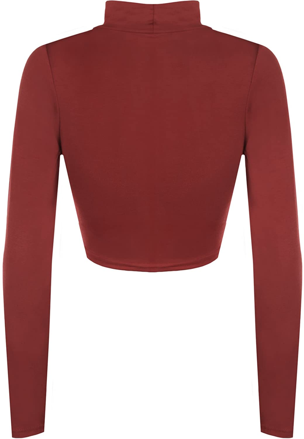 45b0d7c94 WearAll Womens Turtle Neck Crop Long Sleeve Plain Top at Amazon Women's  Clothing store: