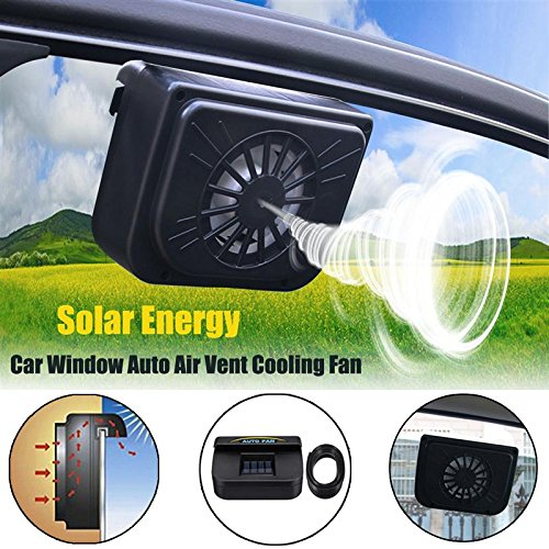 UltaPlay(TM) Black 1.5V 0.3W Solar Powered Car Window Windshield Auto Air Vent Cooling Fan Radiator System ()