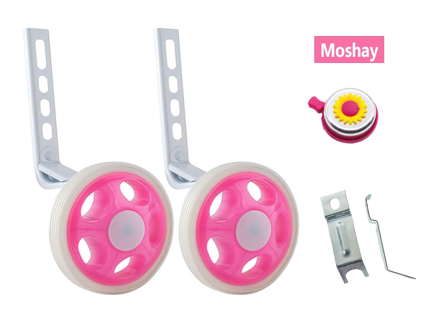 MOSHAY Training Wheels for Children's Bicycle stabiliser(for 14 16 18 20 inch Bike) (A-Pink)