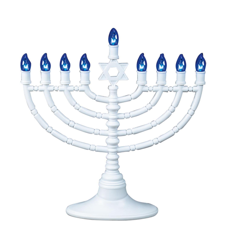 11.5 Traditional Style White and Blue LED Electric Chanukah Hanukkah Menorah Rite Lite
