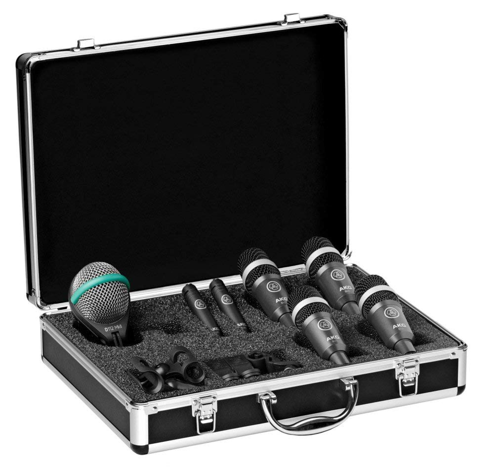AKG Acoustics Drum Set Concert 1 Professional Drum Microphone Set With D112 MkII Bass Drum, 2x C430 Overhead and 4x D40 Microphones by AKG
