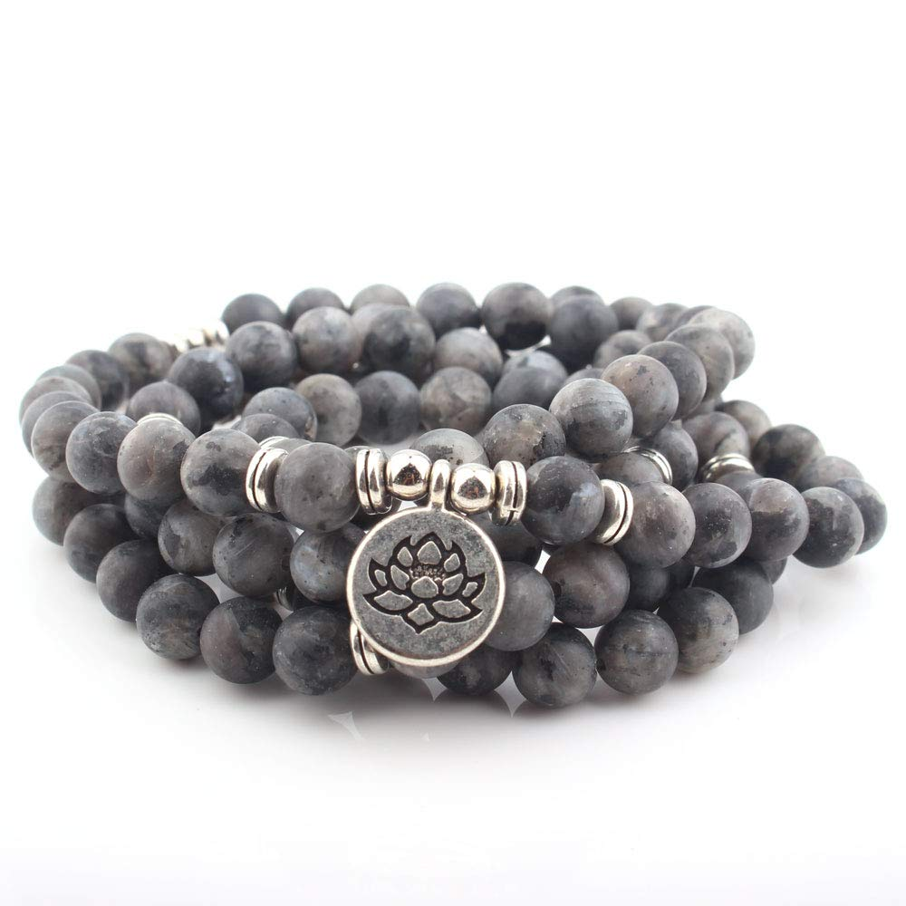 GVUSMIL Matte Natural Stone Beads with Lotus Buddha Charm Yoga Bracelet 108 Mala Necklace As a