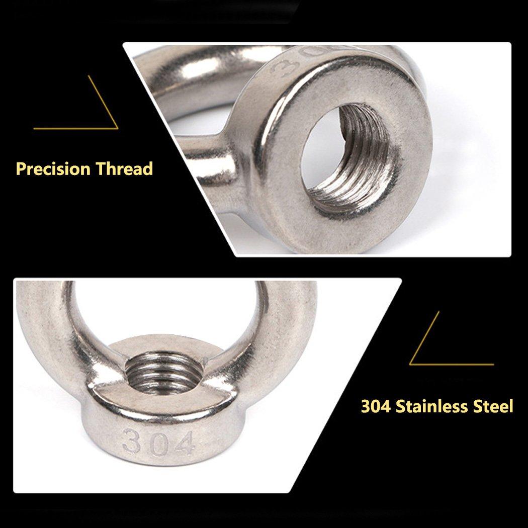 M12 Ring Shape Lifting Eye Nut 304 Stainless Steel Threaded Nut Fastener-2 Pack