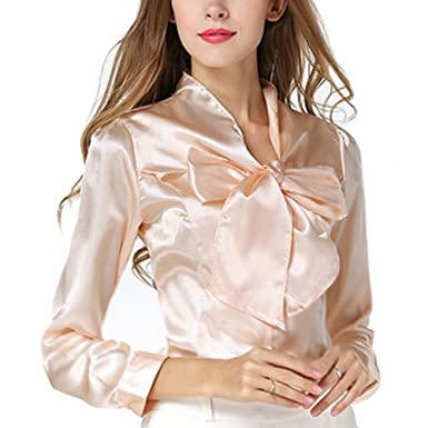 f53245a281 Women Long Sleeve Solid T-Shirt Chiffon Satin Tops Shirts Casual V-Neck  Office